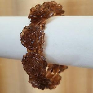 LOFT Brown Floral Stretch Bracelet #505
